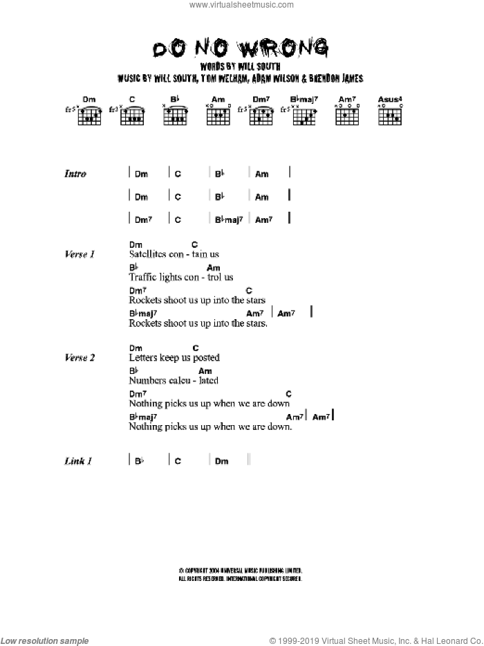 Do No Wrong sheet music for guitar (chords) by Thirteen Senses, intermediate. Score Image Preview.