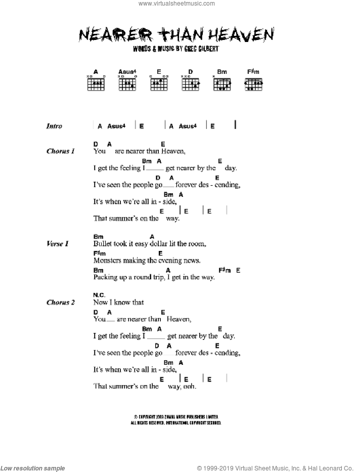 Nearer Than Heaven sheet music for guitar (chords) by Greg Gilbert
