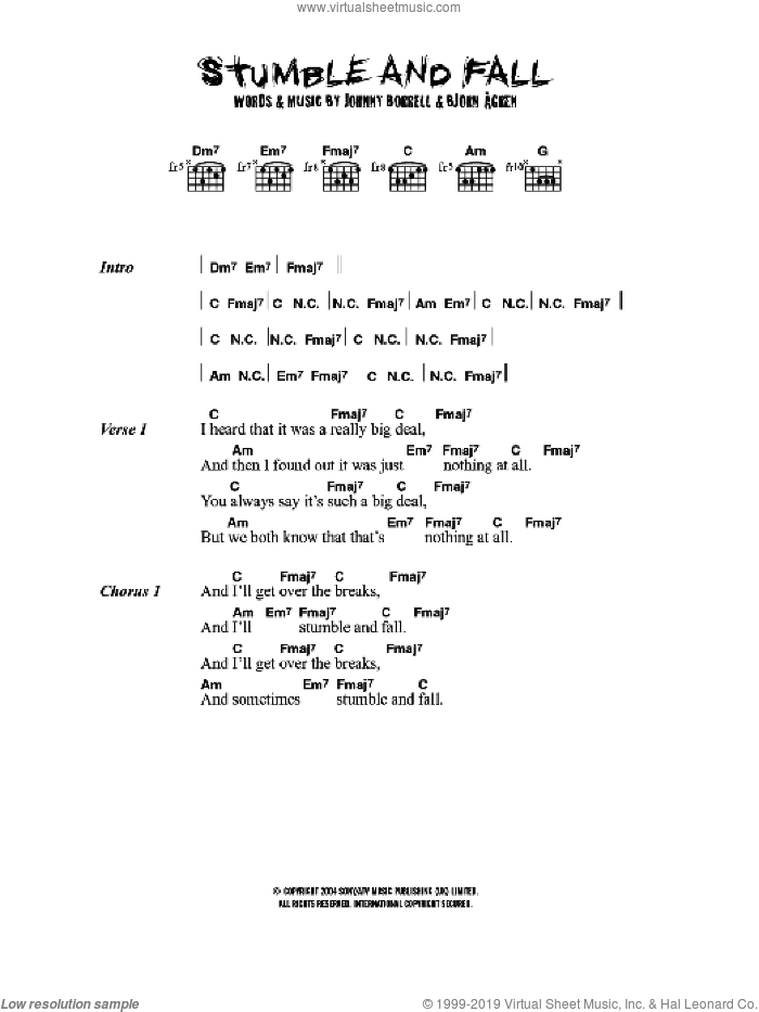 Stumble And Fall sheet music for guitar (chords) by Razorlight, Bjorn Agren and Johnny Borrell, intermediate. Score Image Preview.