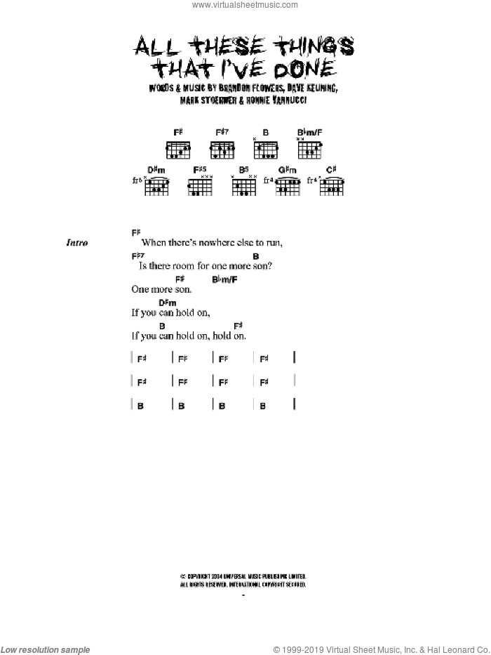 All These Things That I've Done sheet music for guitar (chords) by The Killers, Brandon Flowers, Dave Keuning, Mark Stoermer and Ronnie Vannucci, intermediate skill level