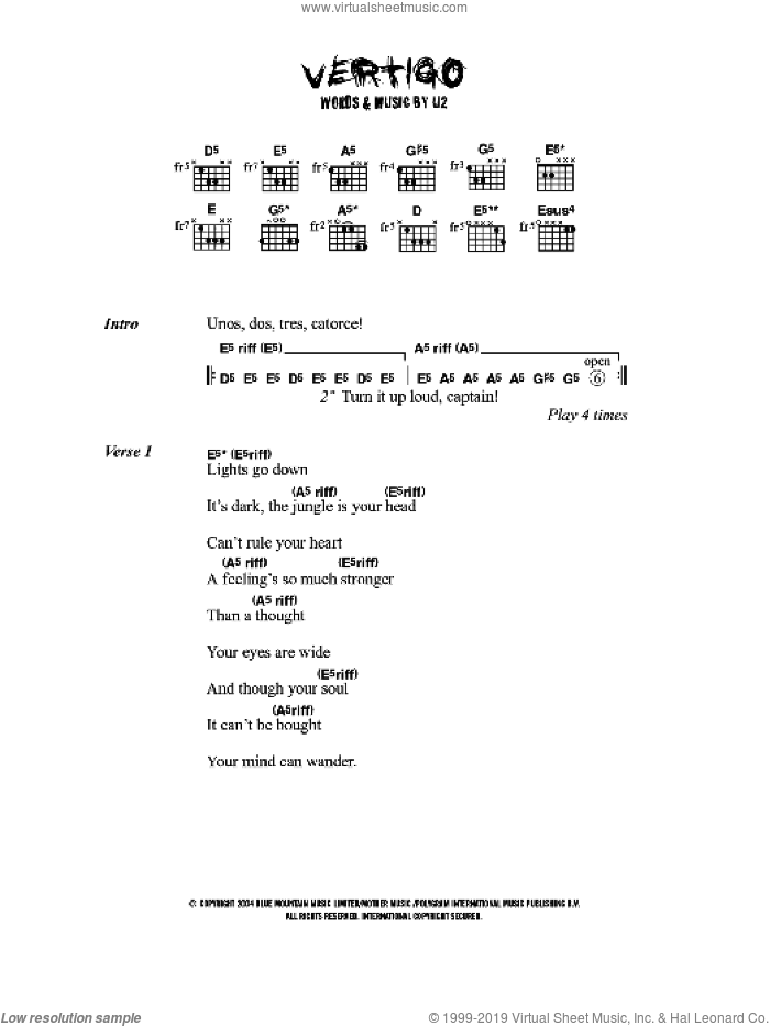 Vertigo sheet music for guitar (chords) by U2. Score Image Preview.