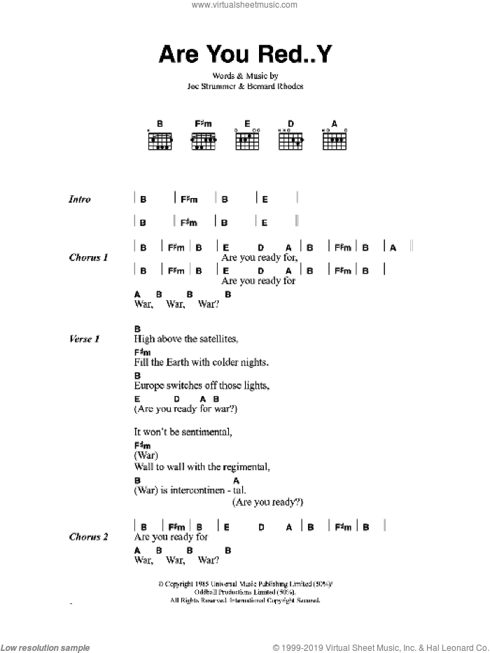 Are You Red..Y sheet music for guitar (chords) by The Clash, Bernard Rhodes and Joe Strummer, intermediate skill level