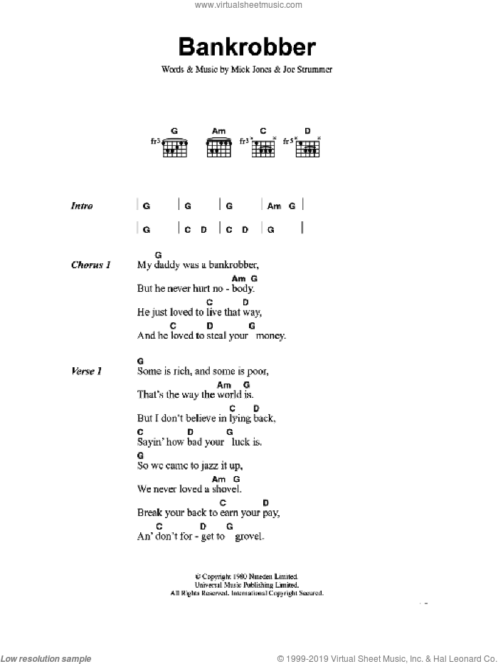 Bankrobber sheet music for guitar (chords) by The Clash, Joe Strummer and Mick Jones, intermediate skill level