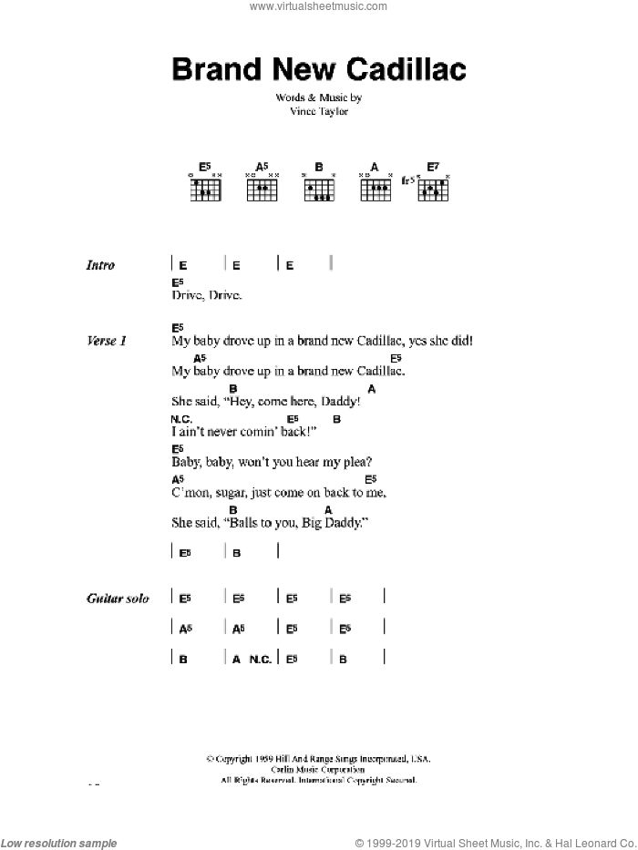 Brand New Cadillac sheet music for guitar (chords) by Vince Taylor