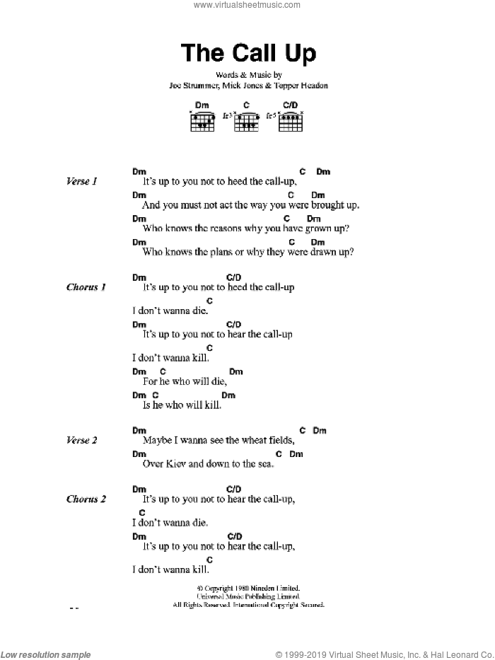 The Call Up sheet music for guitar (chords) by The Clash, Joe Strummer, Mick Jones and Topper Headon, intermediate skill level