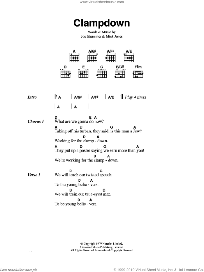 Clampdown sheet music for guitar (chords) by The Clash and Mick Jones, intermediate guitar (chords). Score Image Preview.