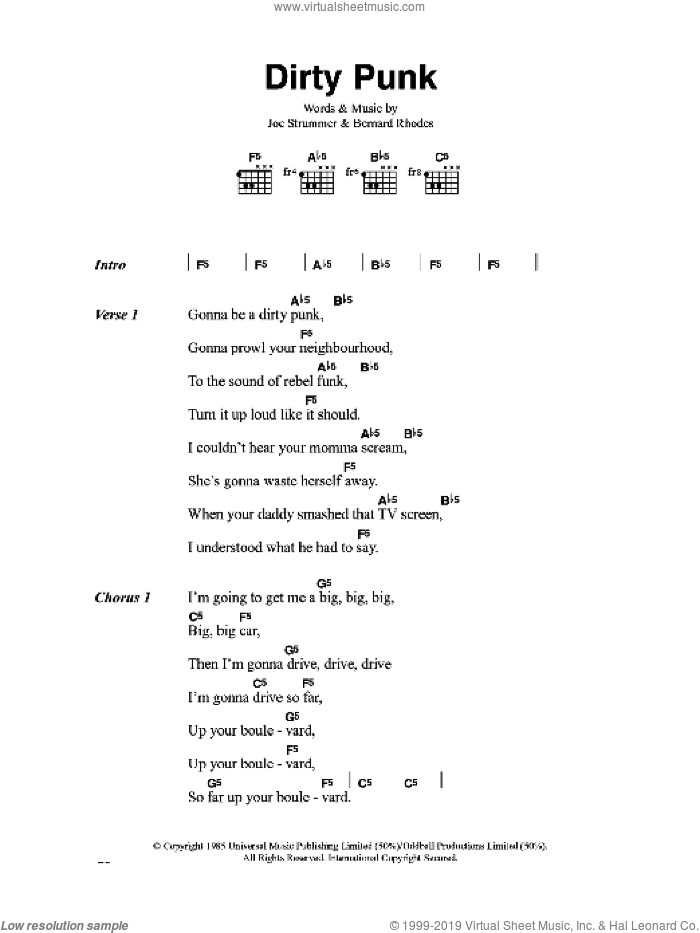 Dirty Punk sheet music for guitar (chords) by The Clash. Score Image Preview.