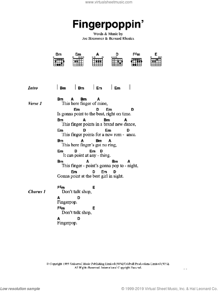 Fingerpoppin' sheet music for guitar (chords) by Bernard Rhodes