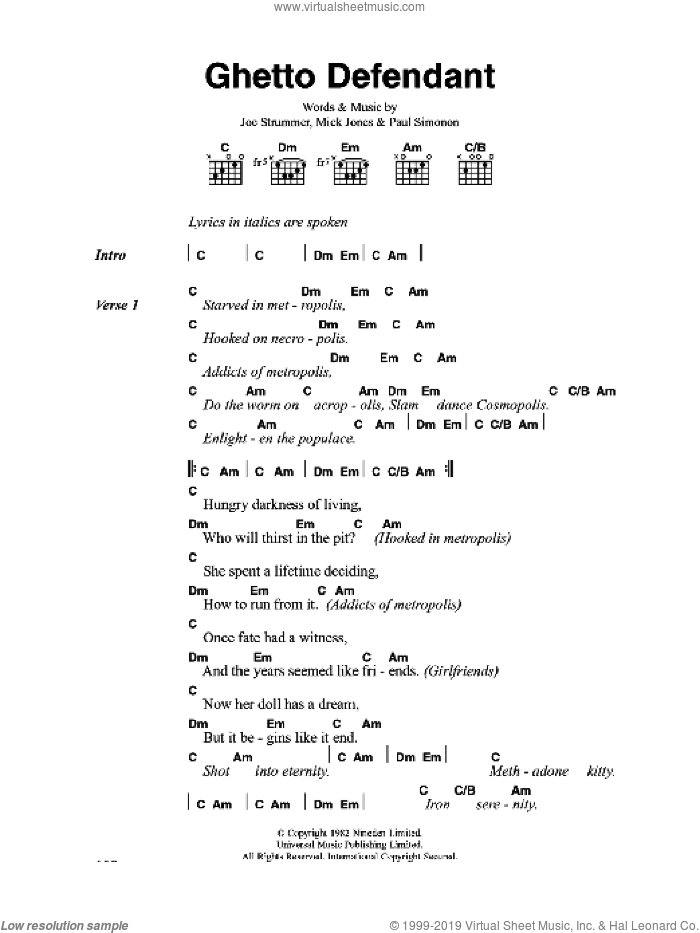 Ghetto Defendant sheet music for guitar (chords) by The Clash and Mick Jones, intermediate. Score Image Preview.
