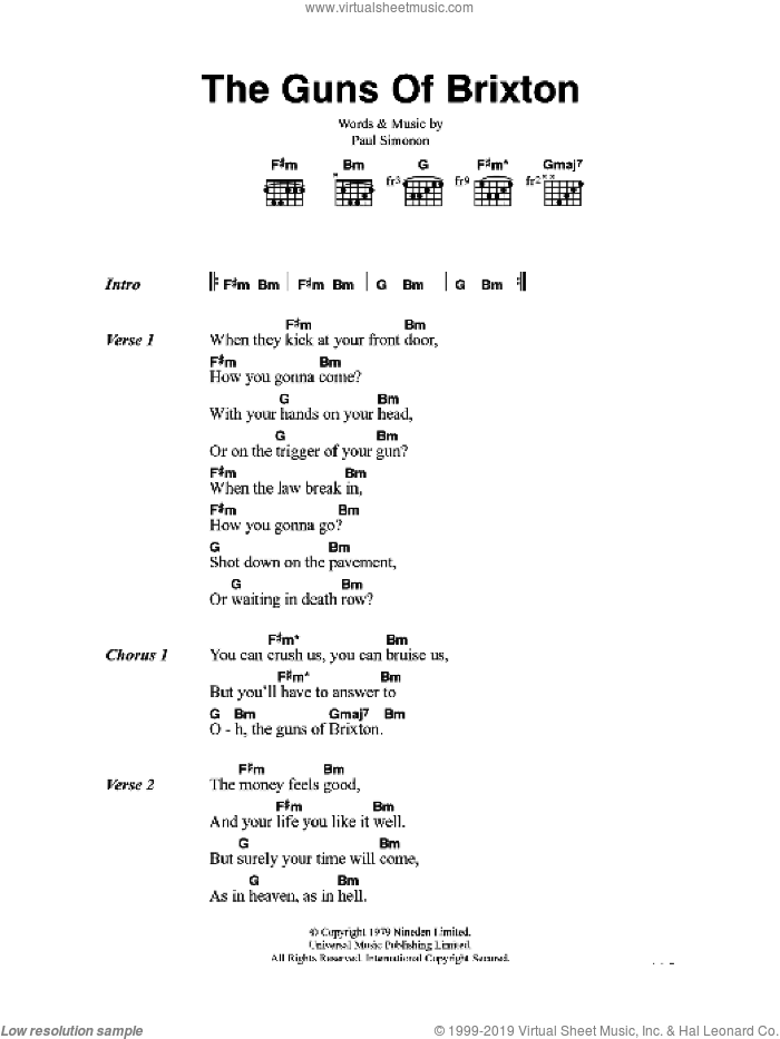 The Guns Of Brixton sheet music for guitar (chords) by The Clash and Paul Simonon, intermediate skill level
