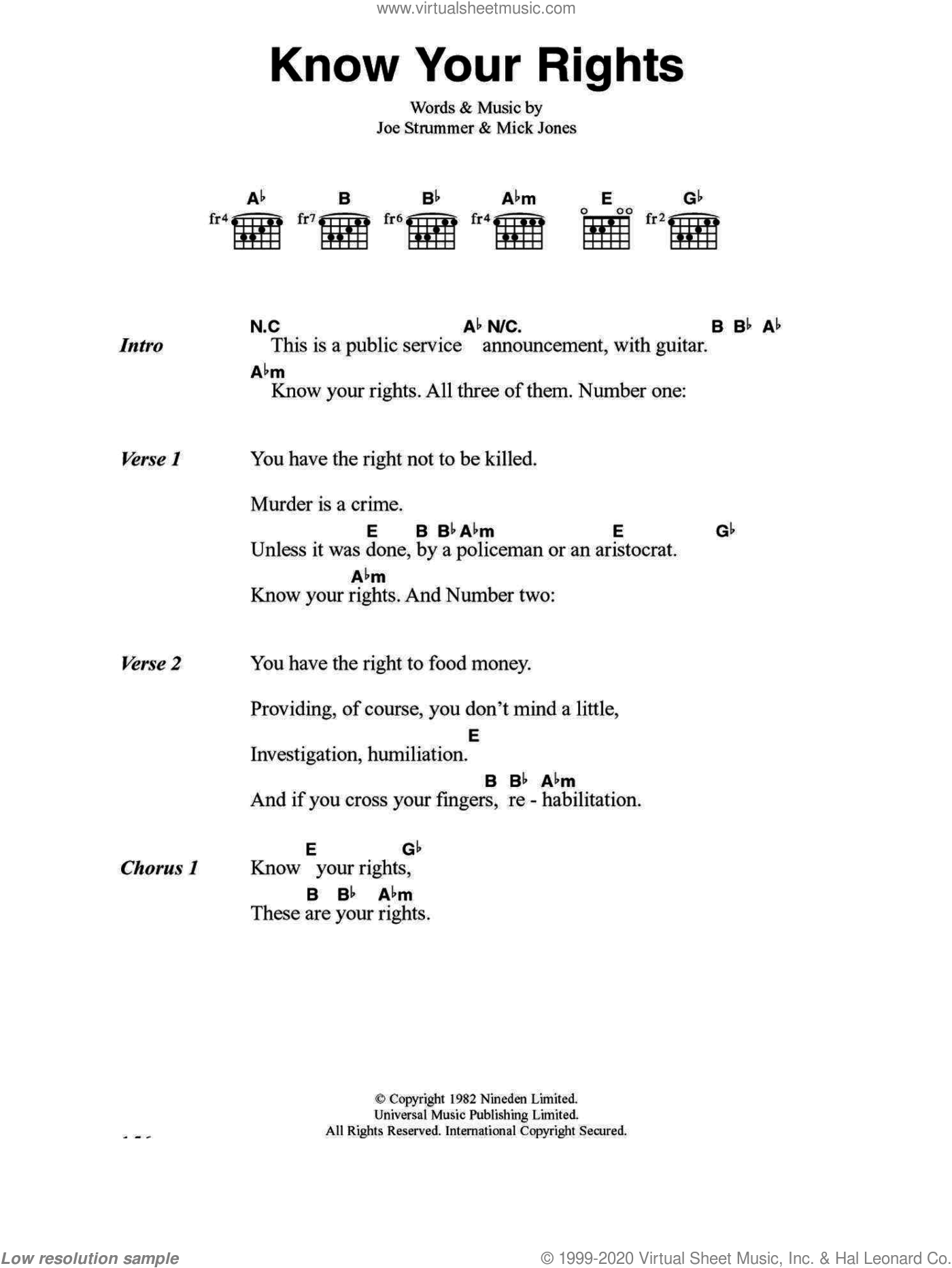 Know Your Rights sheet music for guitar (chords) by The Clash and Mick Jones. Score Image Preview.
