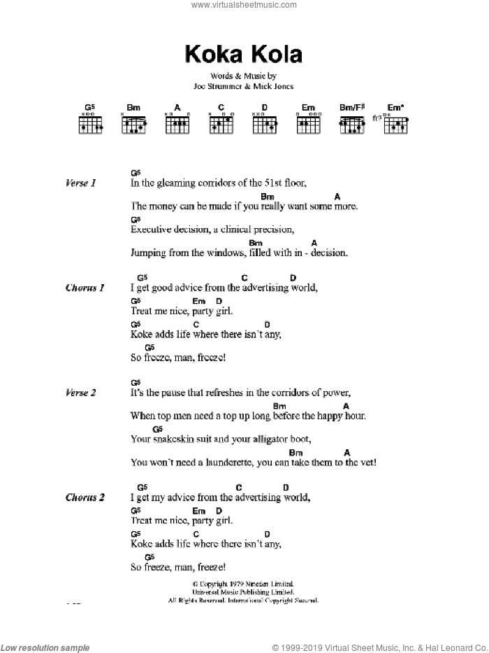 Koka Kola sheet music for guitar (chords) by The Clash and Mick Jones. Score Image Preview.