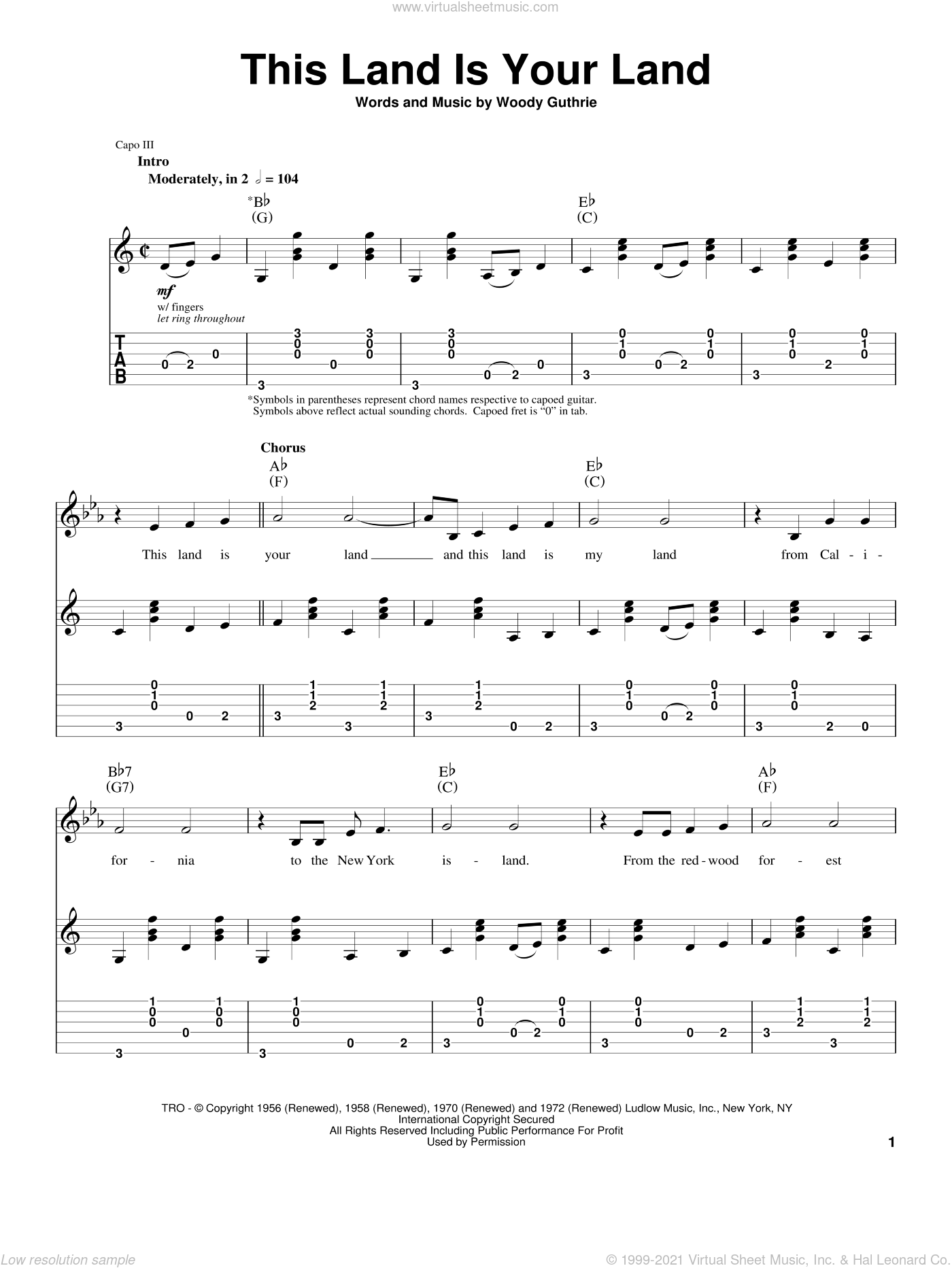 This Land Is Your Land sheet music for guitar (tablature, play-along) by Woody Guthrie, Arlo Guthrie and New Christy Minstrels, intermediate skill level