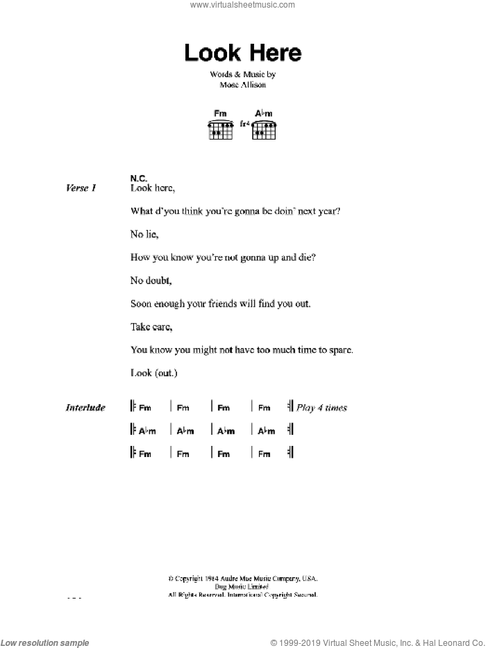 Look Here sheet music for guitar (chords) by Mose Allison