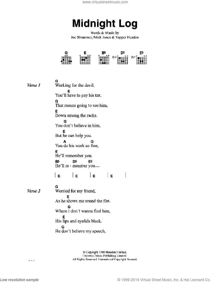 Midnight Log sheet music for guitar (chords) by The Clash and Mick Jones, intermediate. Score Image Preview.