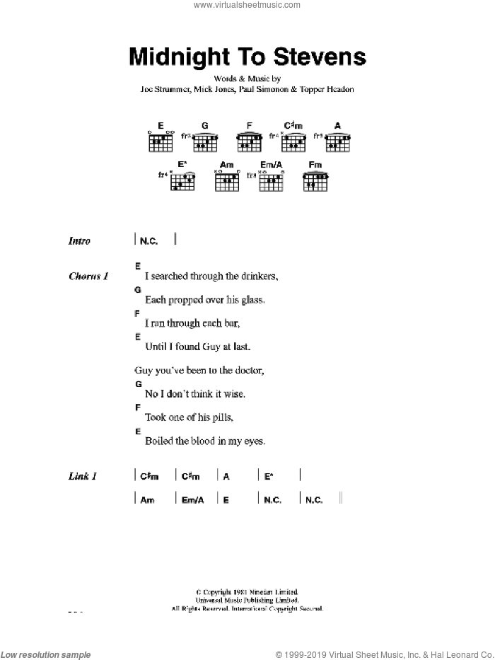 Midnight To Stevens sheet music for guitar (chords) by The Clash, Joe Strummer, Mick Jones, Paul Simonon and Topper Headon, intermediate skill level