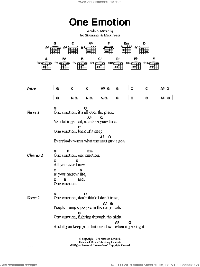 One Emotion sheet music for guitar (chords) by The Clash, Joe Strummer and Mick Jones, intermediate