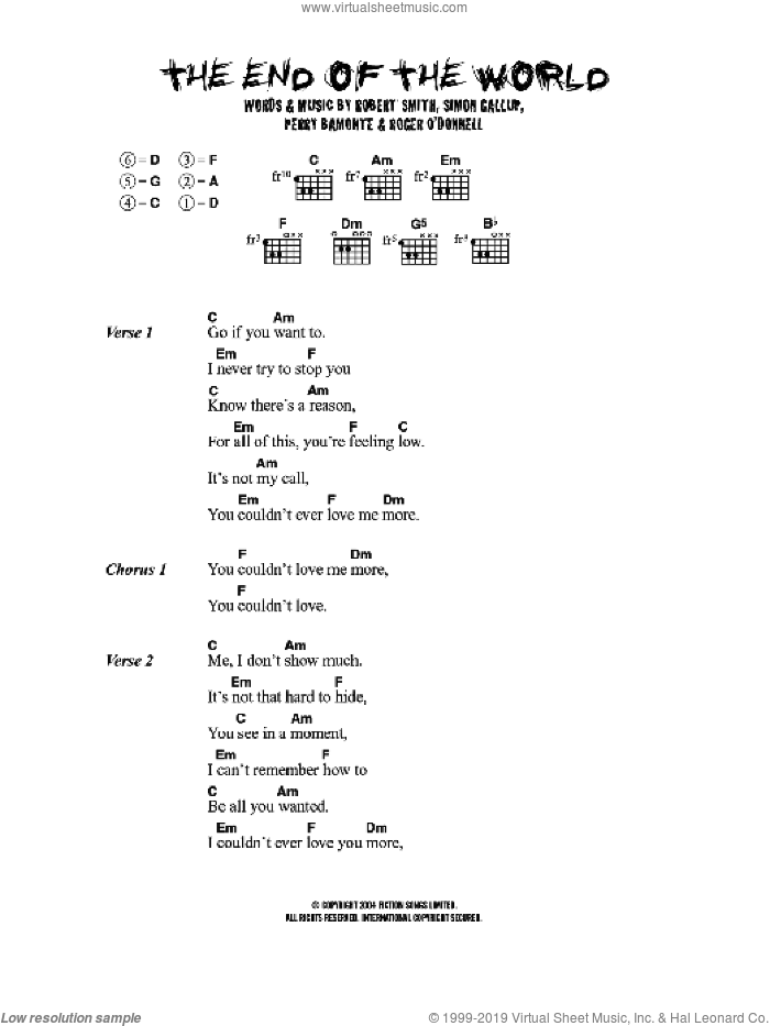 The End Of The World sheet music for guitar (chords) by The Cure, Perry Bamonte, Robert Smith and Simon Gallup, intermediate skill level