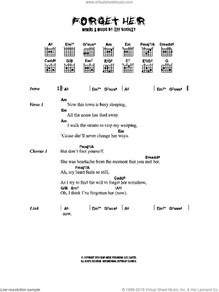 Forget Her sheet music for guitar (chords) by Jeff Buckley, intermediate guitar (chords). Score Image Preview.