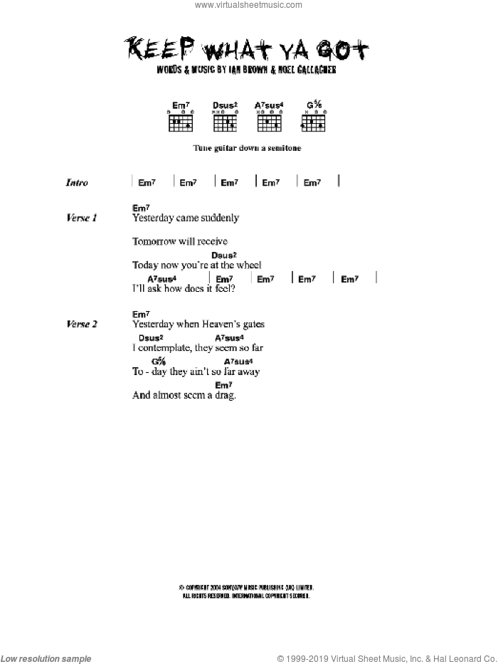 Keep What Ya Got sheet music for guitar (chords) by Ian Brown and Noel Gallagher, intermediate skill level