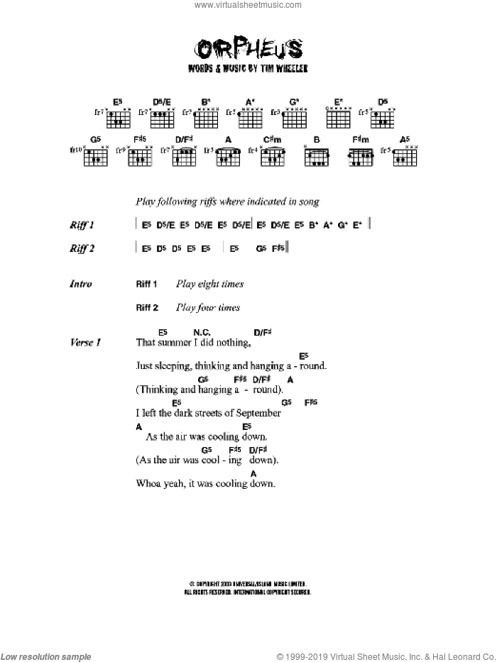 Orpheus sheet music for guitar (chords) by Tim Wheeler, intermediate skill level