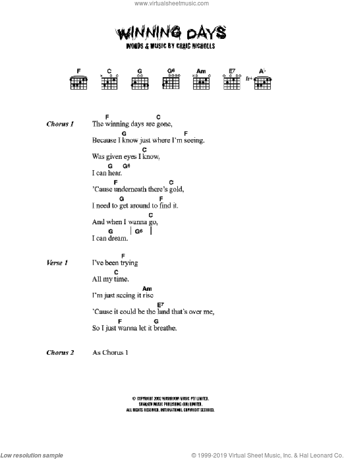 Winning Days sheet music for guitar (chords) by Craig Nicholls and The Vines. Score Image Preview.