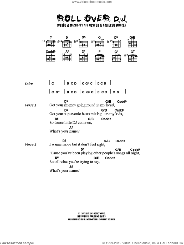 Rollover D. J. sheet music for guitar (chords) by Nic Cester. Score Image Preview.