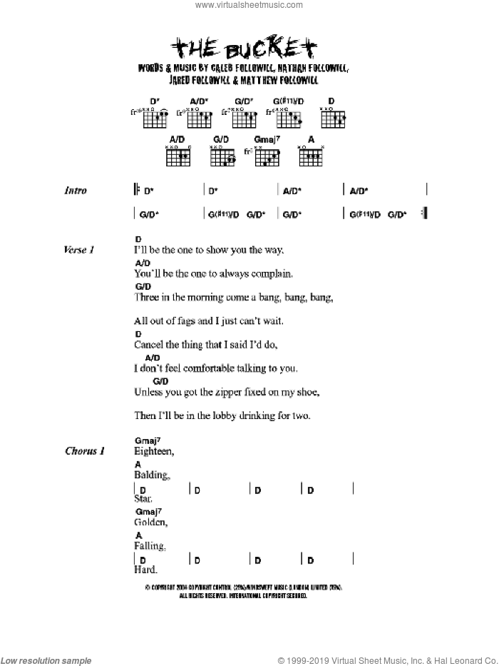 The Bucket sheet music for guitar (chords) by Kings Of Leon, intermediate guitar (chords). Score Image Preview.