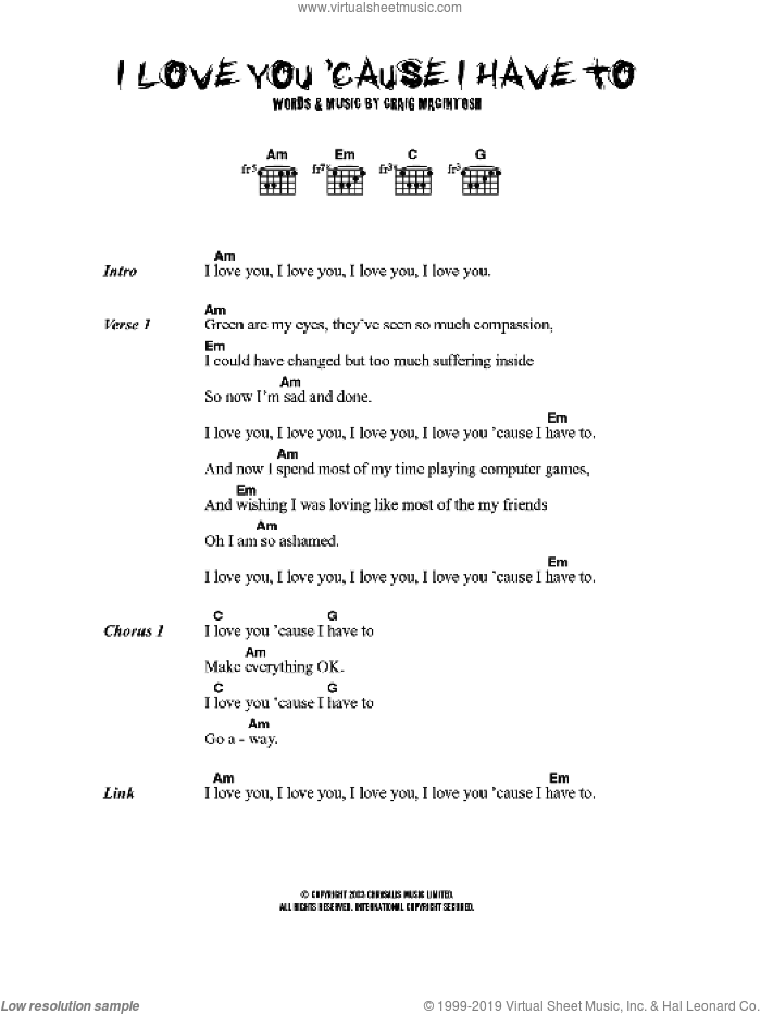 I Love You 'Cause I Have To sheet music for guitar (chords) by Craig MacIntosh