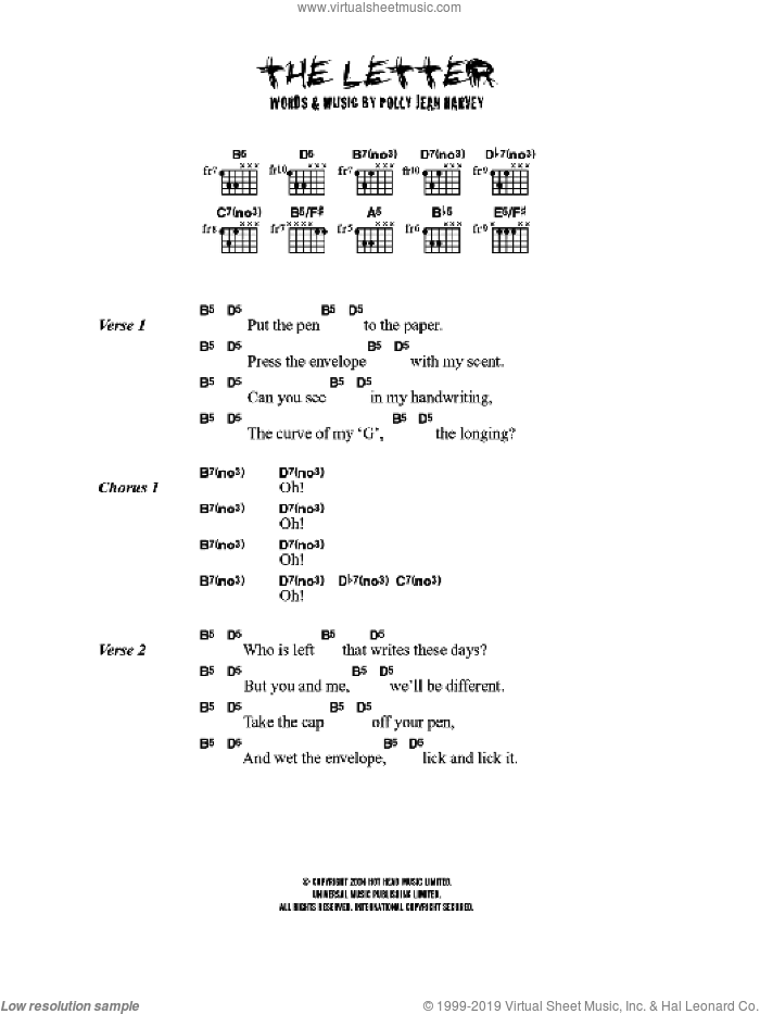 The Letter sheet music for guitar (chords) by P J Harvey and Polly Jean Harvey, intermediate. Score Image Preview.