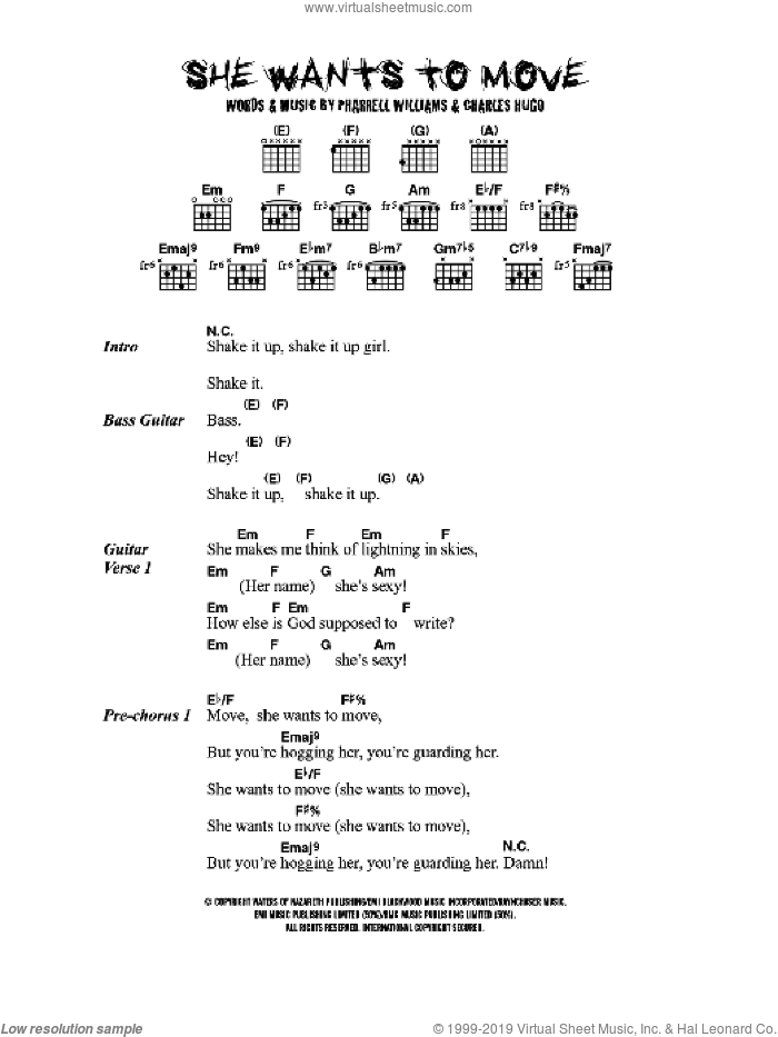 She Wants To Move sheet music for guitar (chords) by N*E*R*D* and Pharrell Williams, intermediate. Score Image Preview.