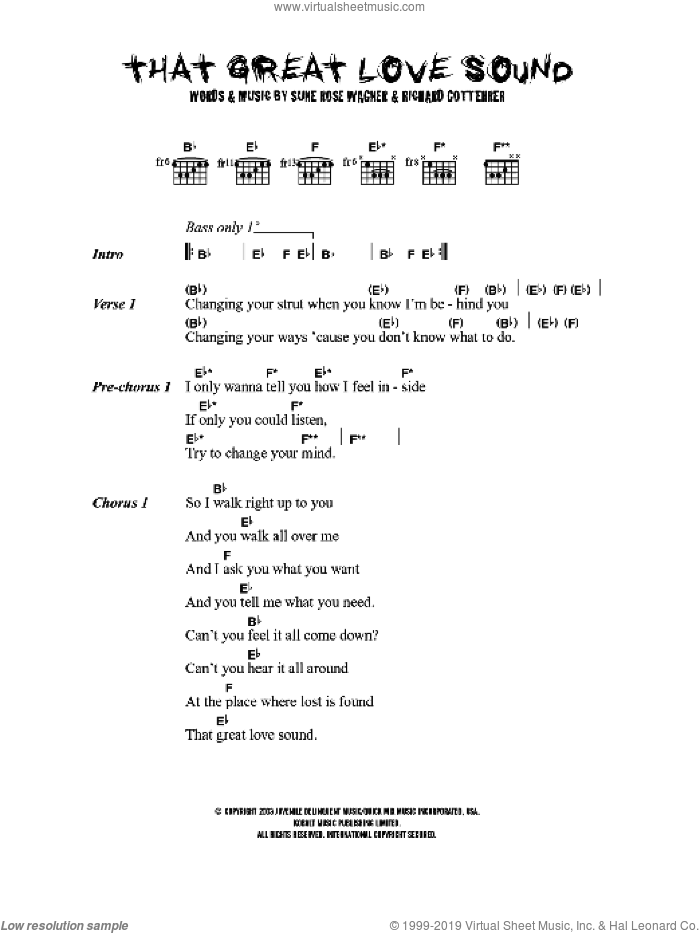 That Great Love Sound sheet music for guitar (chords) by Richard Gottehrer