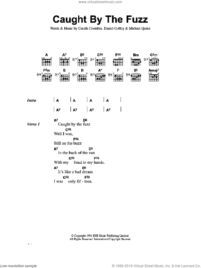 Caught By The Fuzz sheet music for guitar (chords) by Daniel Goffey