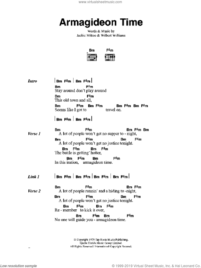 Armagideon Time sheet music for guitar (chords) by Jackie Mittoo, The Clash and Willi Williams. Score Image Preview.