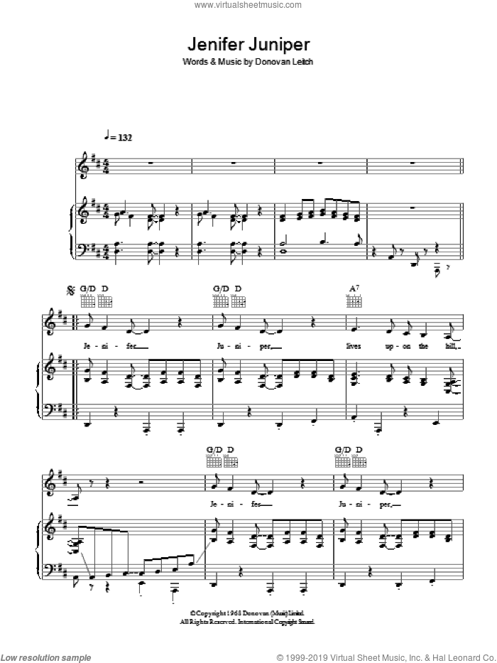 Jennifer Juniper sheet music for voice, piano or guitar by Donovan Leitch and Walter Donovan. Score Image Preview.