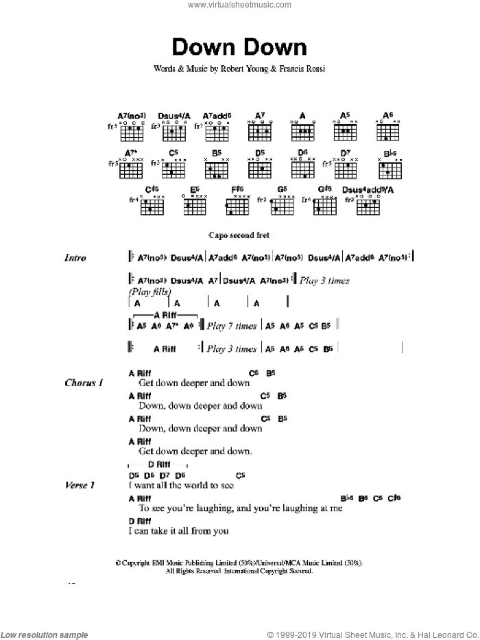 Down Down sheet music for guitar (chords) by Francis Rossi and Robert Young. Score Image Preview.