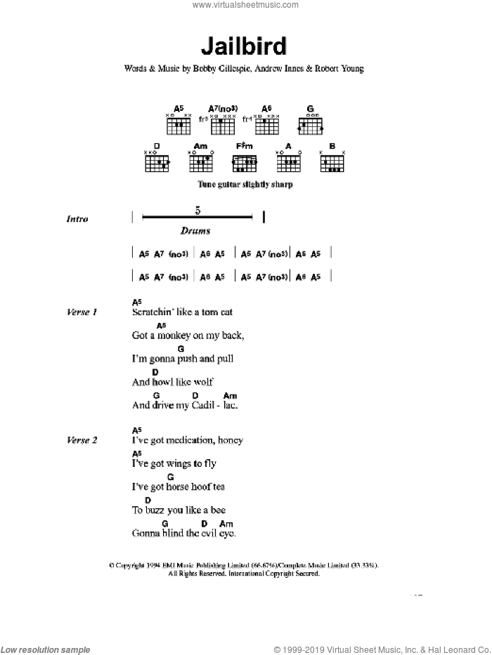 Jailbird sheet music for guitar (chords) by Primal Scream, Andrew Innes, Bobby Gillespie and Robert Young, intermediate skill level