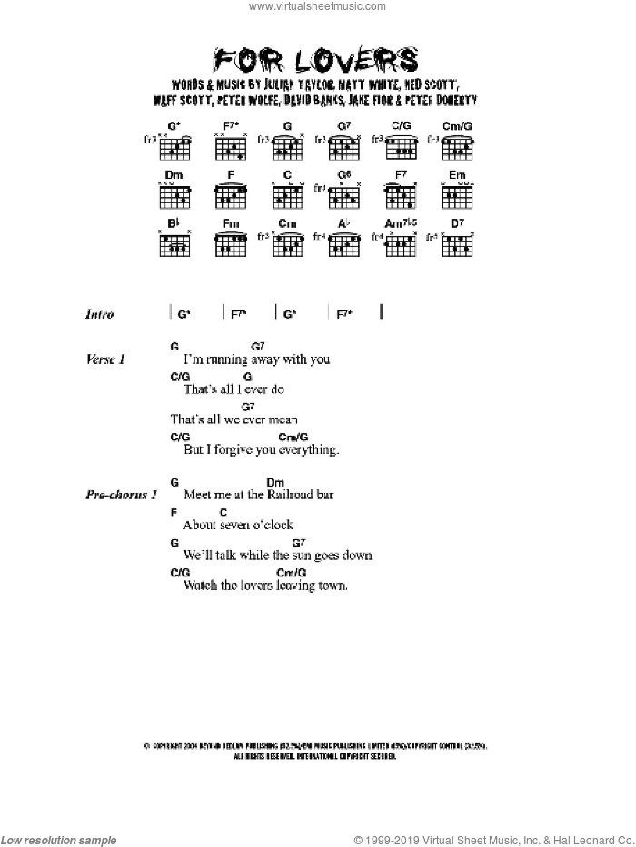 For Lovers sheet music for guitar (chords) by David Banks, Matt White, Pete Doherty and Peter Wolfe. Score Image Preview.