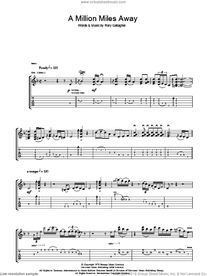 A Million Miles Away sheet music for guitar (tablature) by Rory Gallagher