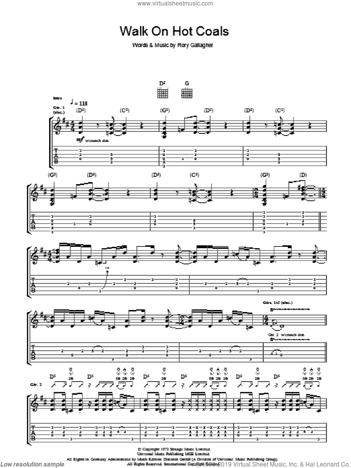 Walk On Hot Coals sheet music for guitar (tablature) by Rory Gallagher, intermediate. Score Image Preview.