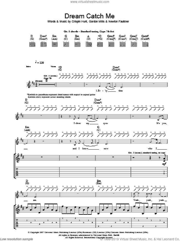 Dream Catch Me sheet music for guitar (tablature) by Crispin Hunt, Newton Faulkner and Gordon Mills. Score Image Preview.