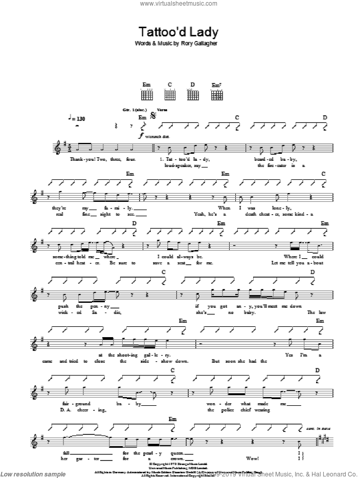 Tattoo'd Lady sheet music for guitar (tablature) by Rory Gallagher. Score Image Preview.