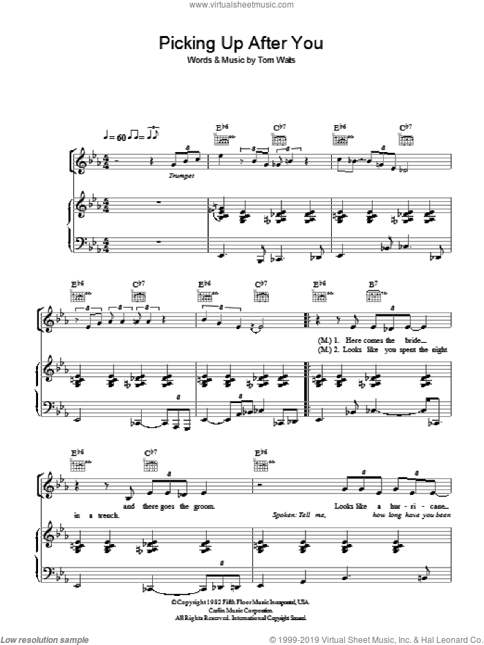 Picking Up After You sheet music for voice, piano or guitar by Tom Waits, intermediate voice, piano or guitar. Score Image Preview.