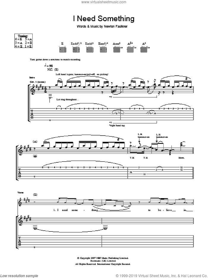 I Need Something sheet music for guitar (tablature) by Newton Faulkner
