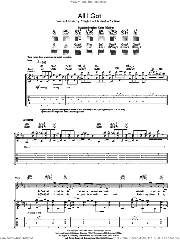 All I Got sheet music for guitar (tablature) by Crispin Hunt and Newton Faulkner. Score Image Preview.