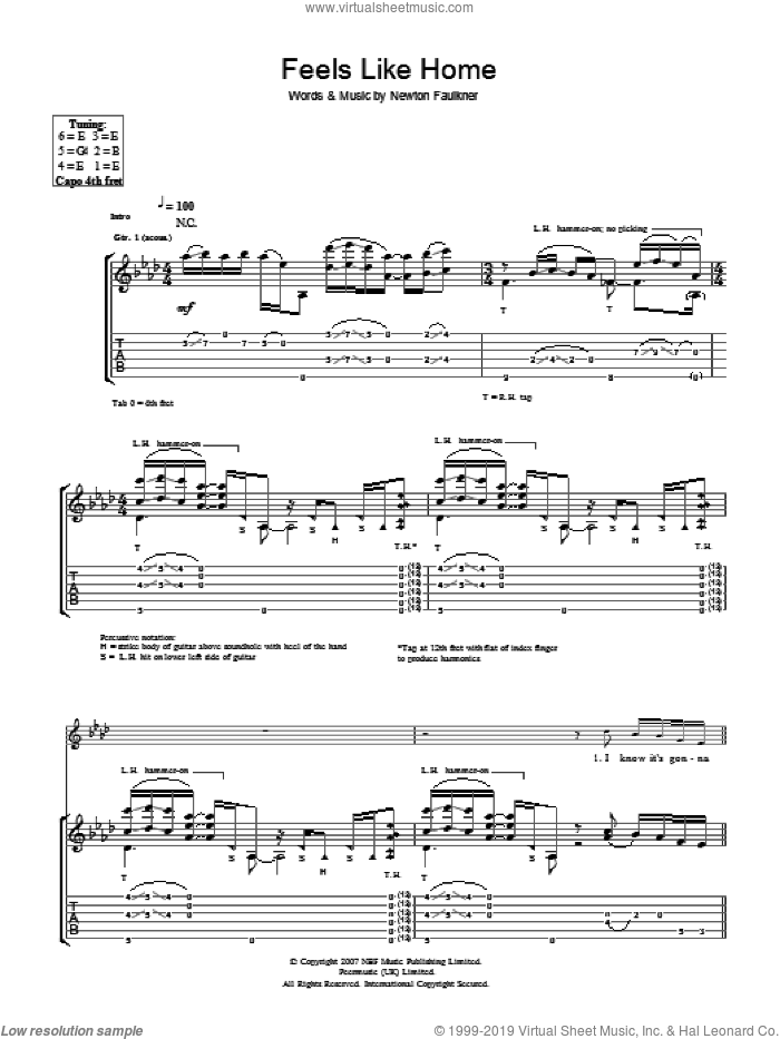 Feels Like Home sheet music for guitar (tablature) by Newton Faulkner, intermediate. Score Image Preview.