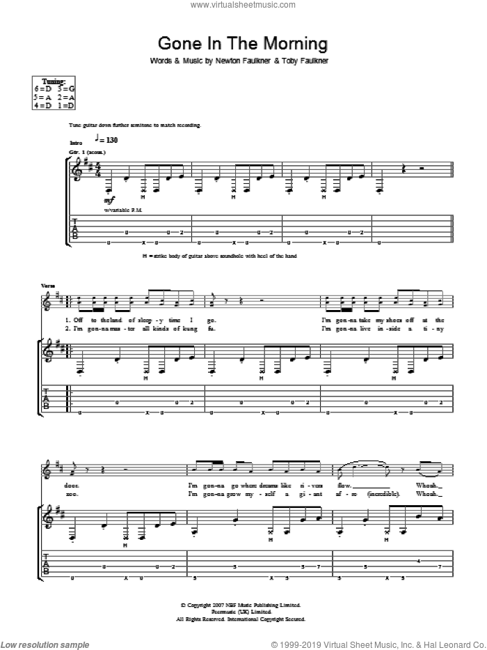 Gone In The Morning sheet music for guitar (tablature) by Toby Faulkner