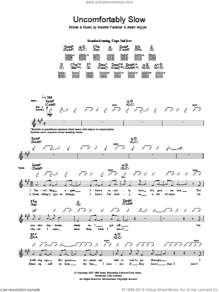 Uncomfortably Slow sheet music for guitar solo (tablature) by Adam Argyle