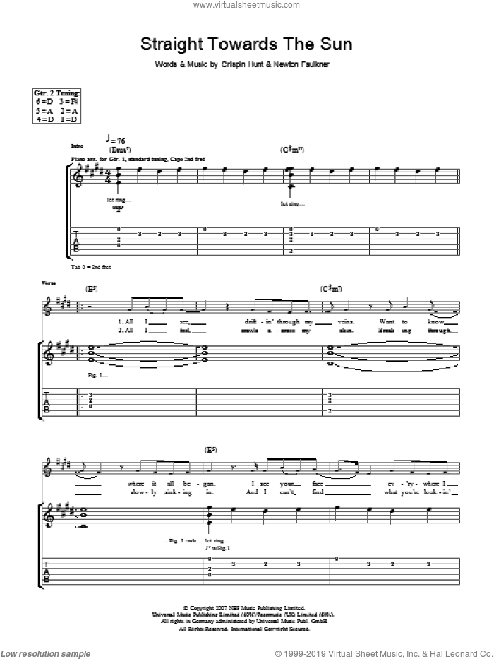 Straight Towards The Sun sheet music for guitar (tablature) by Newton Faulkner and Crispin Hunt, intermediate skill level
