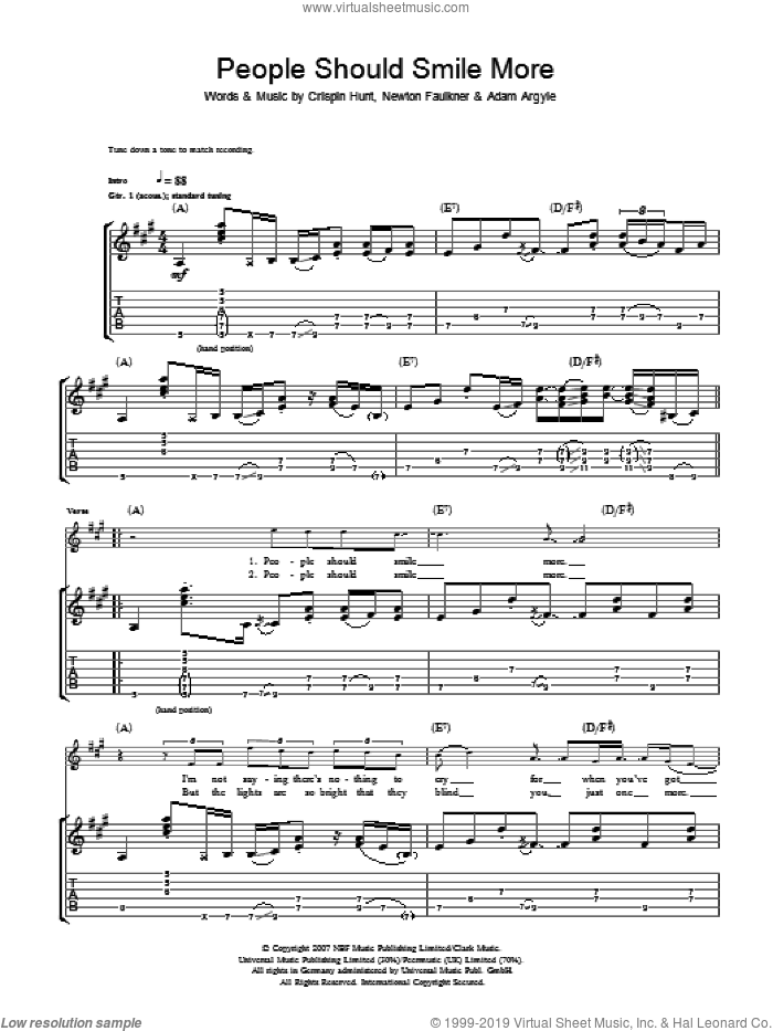 People Should Smile More sheet music for guitar (tablature) by Adam Argyle